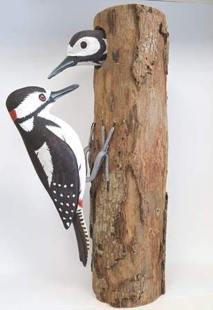 2 greater spotted woodpeckers - handpainted bird
